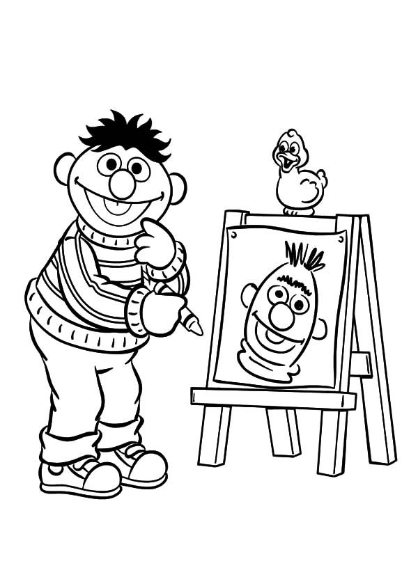 Ernie Drawing Bert Face Coloring Pages: Ernie Drawing Bert Face ...
