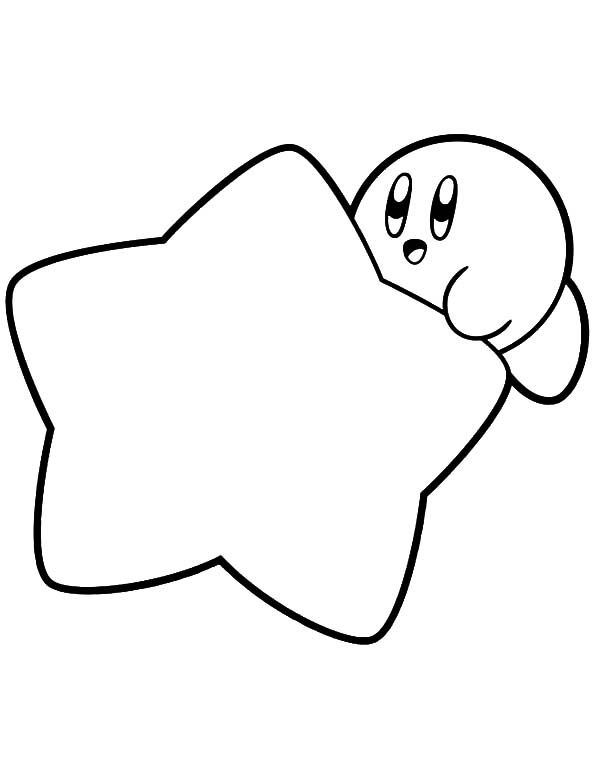 Kirby Hide Behind Star Coloring Pages