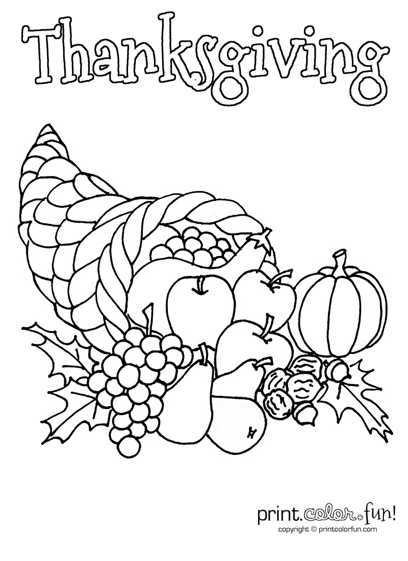 Free N Fun Thanksgiving Coloring Pages : Cornucopia Coloring Page Coloring Home