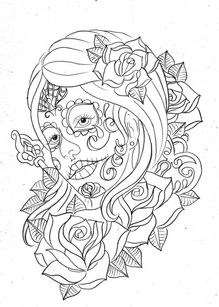 free printable day of the dead coloring pages coloring home