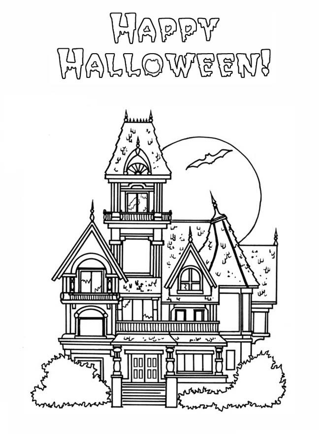 Big Haunted House Coloring Page - Coloring Home