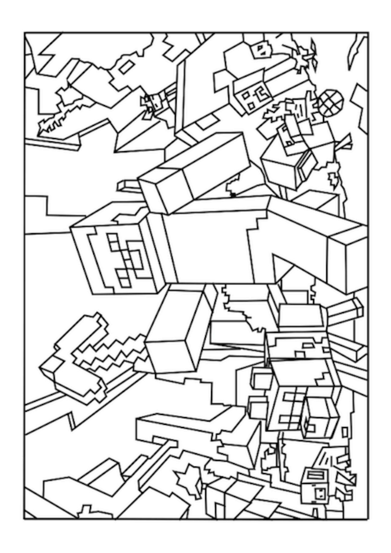 This is an image of Nifty Minecraft Coloring Pages Printable