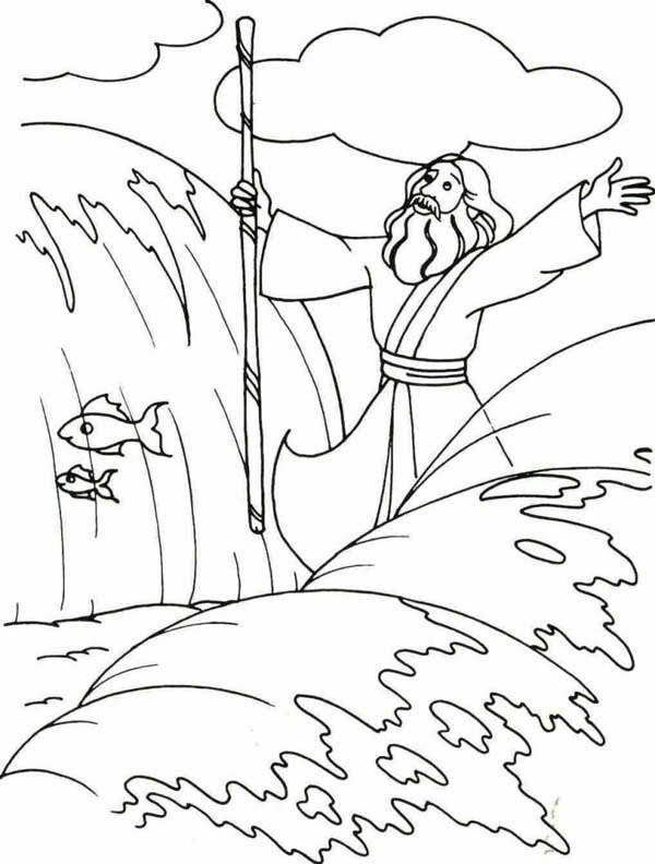 Moses Parting The Red Sea Coloring Page Coloring Home Moses Colouring Pages
