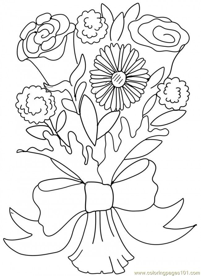 Wedding Bouquet Coloring Pages - Coloring Home