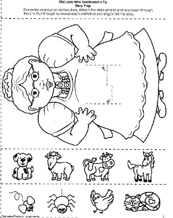 There Old Lady Swallowed Fly Coloring Pages Coloring Home
