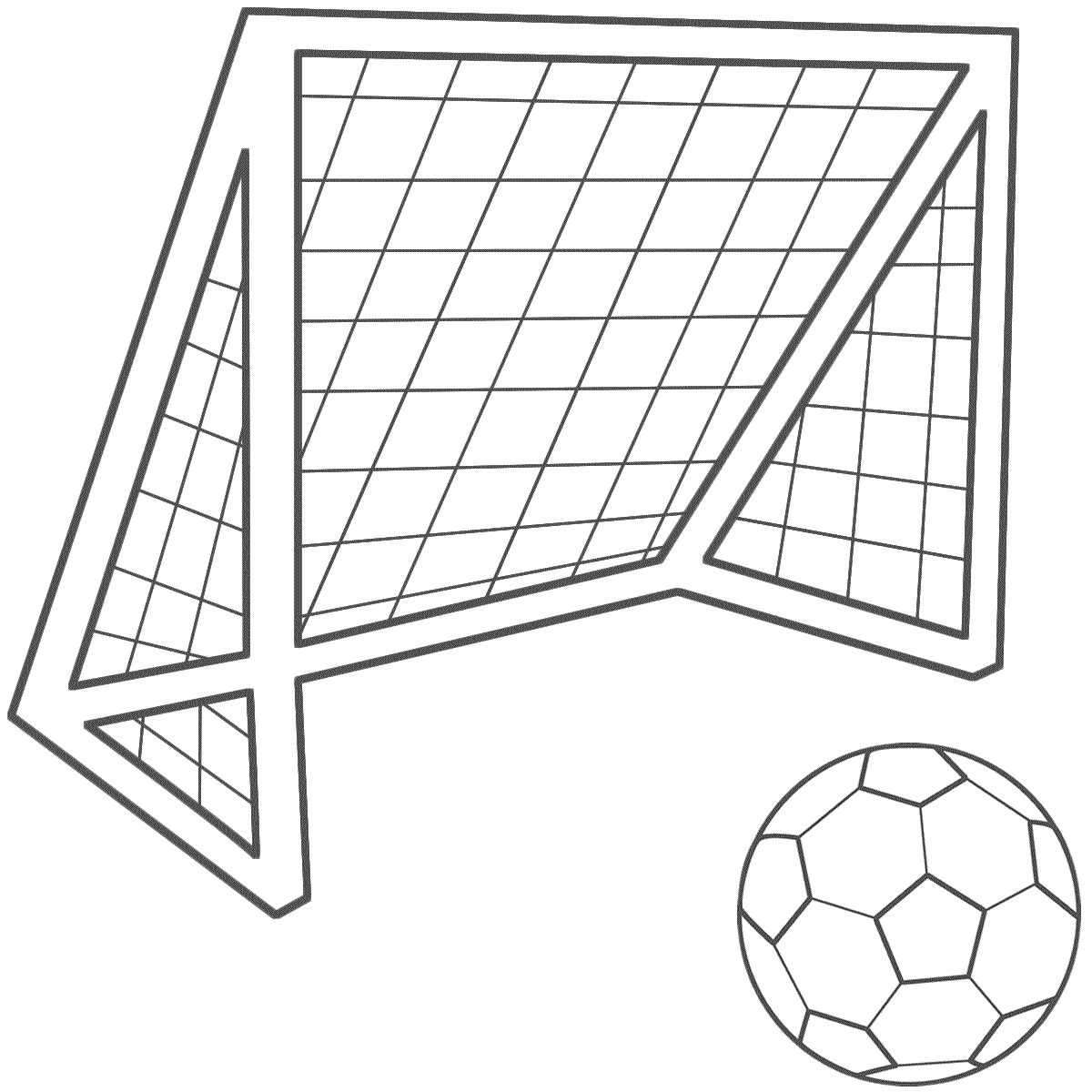 Soccer Ball With A Soccer Net - Coloring Page (Sports ...