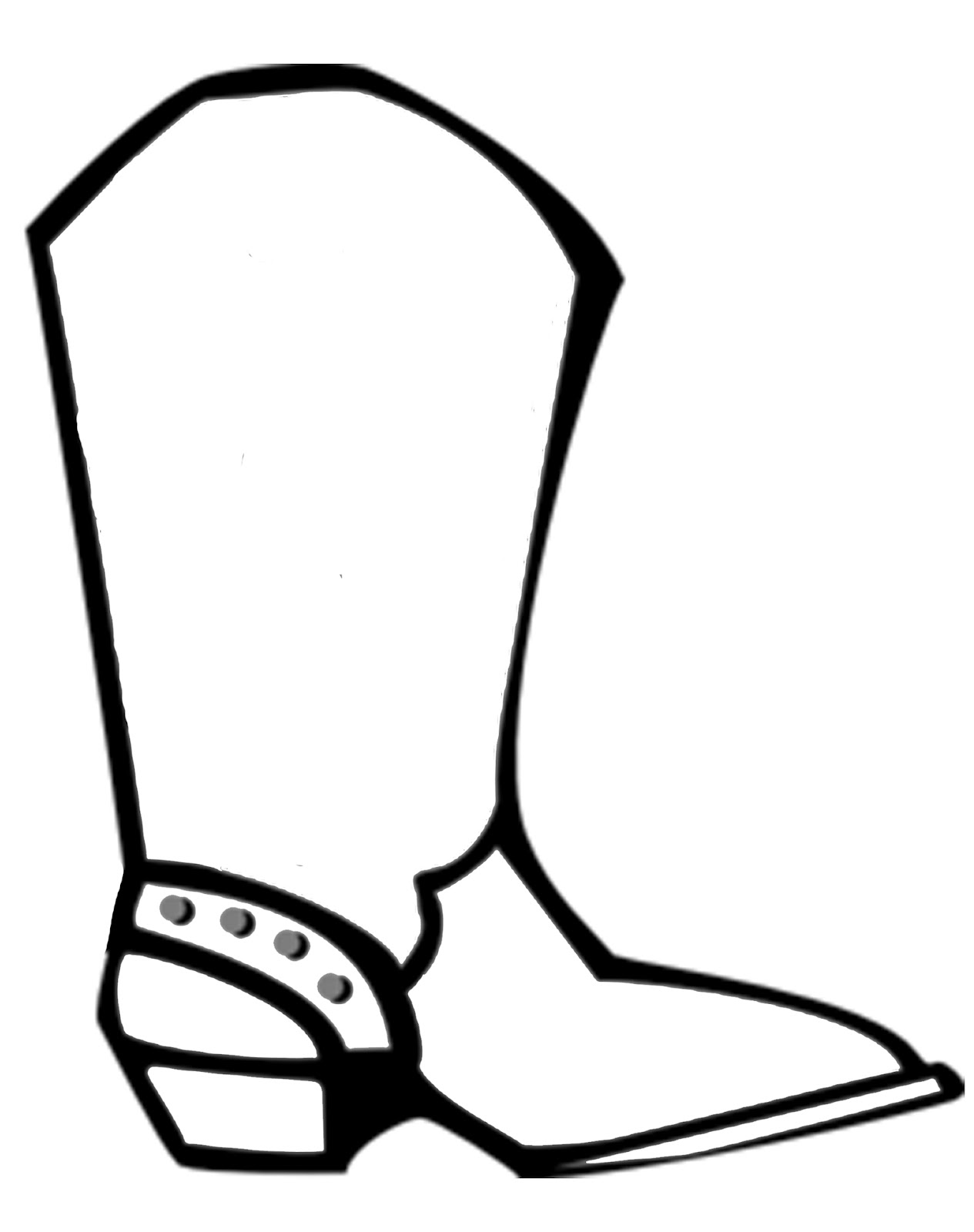 Coloring pictures of cowboy boots - Cowboy Boot Templat