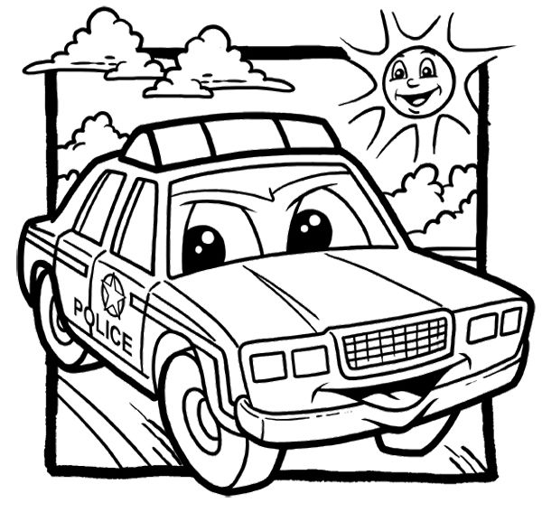 Cartoon Police Car Coloring Page ...pinterest.com