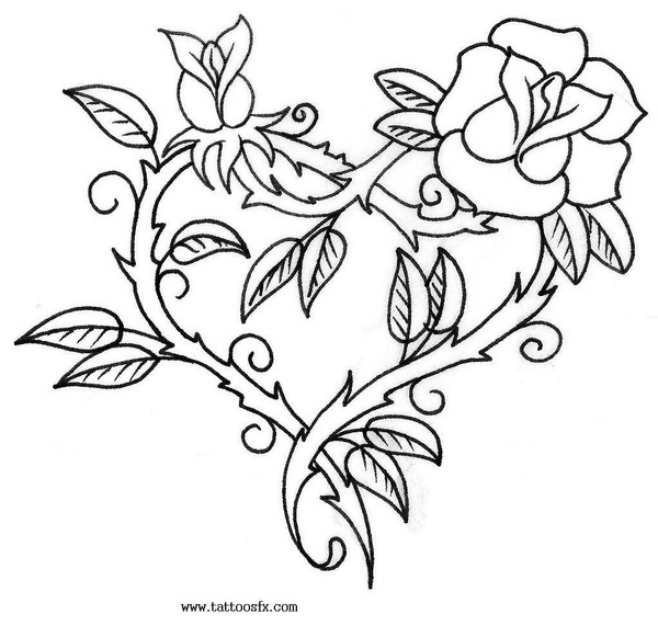 Free Coloring Pages Of Roses And Heart Rose Coloring Sheet