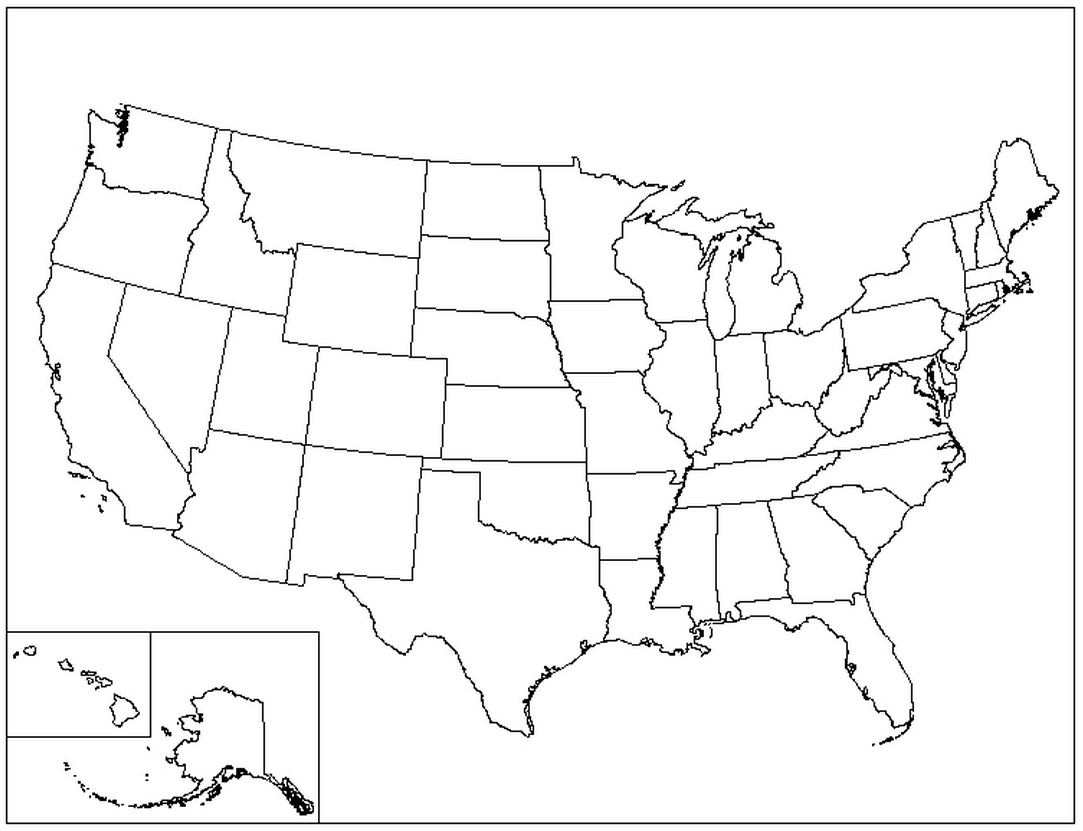 United States Coloring Pages Coloring Home - Map of the united states color