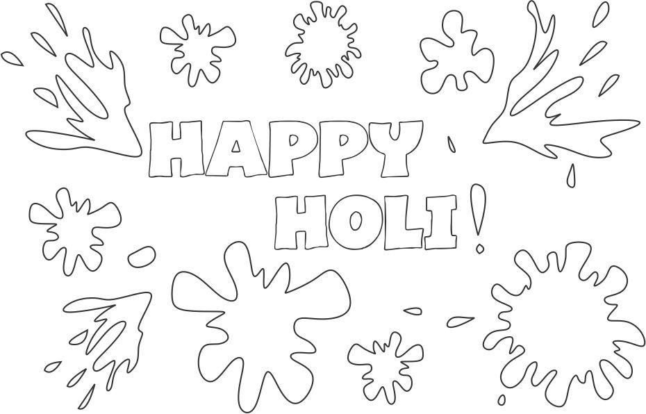 printable happy holi coloring pages sheets for students