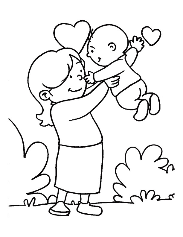 mom and baby coloring pages - photo#30