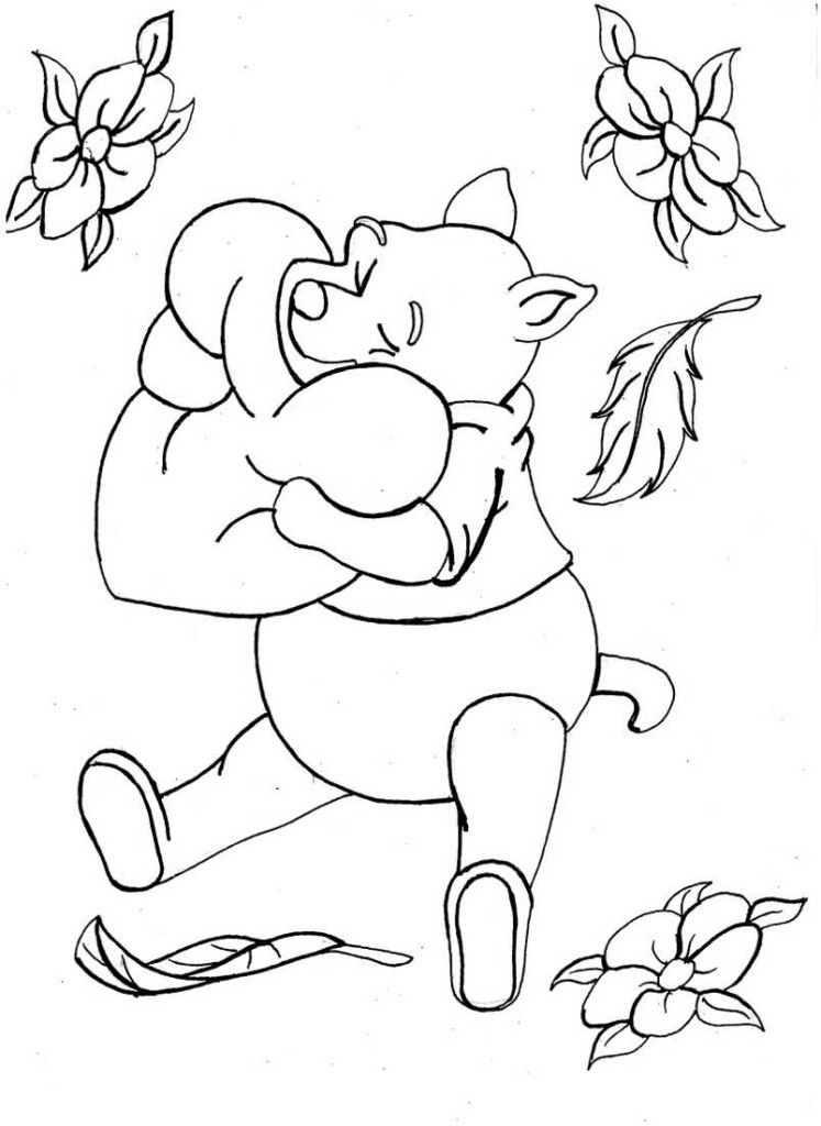 Winnie The Pooh Hugging and Flowers Coloring Pages : New Coloring