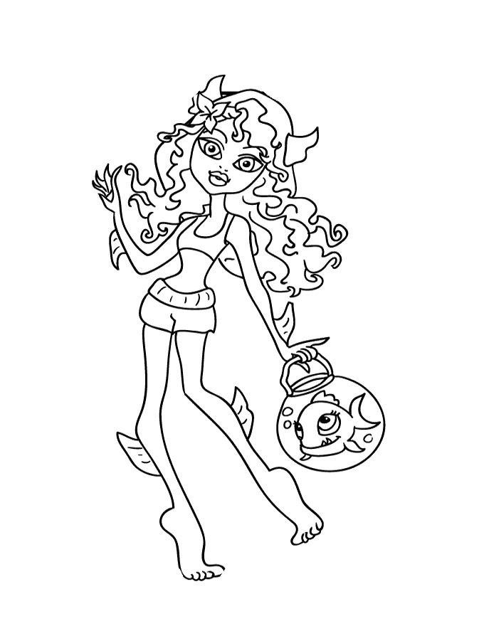 monster high coloring pages lagoona - photo#16