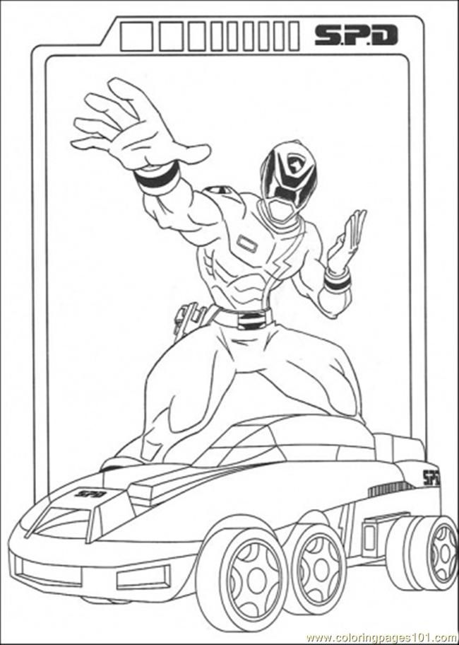 Coloring Pages Spd With His Vehicle (Cartoons > Power Rangers