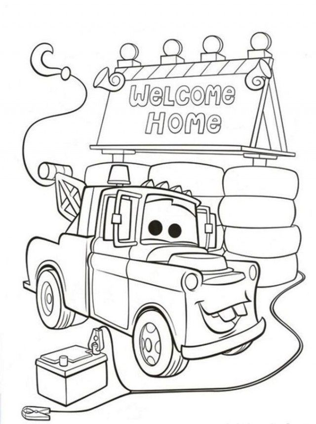 Download Mater Is On The Home Disney Cars Coloring Pages