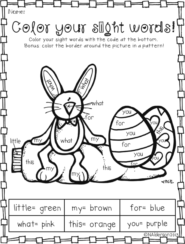 Color By Sight Word Pages on kindergarten sight word coloring sheets
