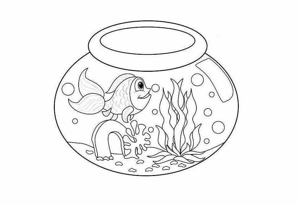 Fish tank coloring page coloring home for Fish tank coloring page