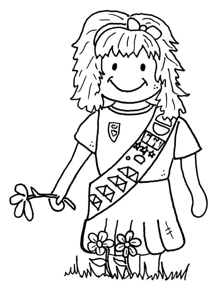 Witty image regarding girl scout coloring pages printable