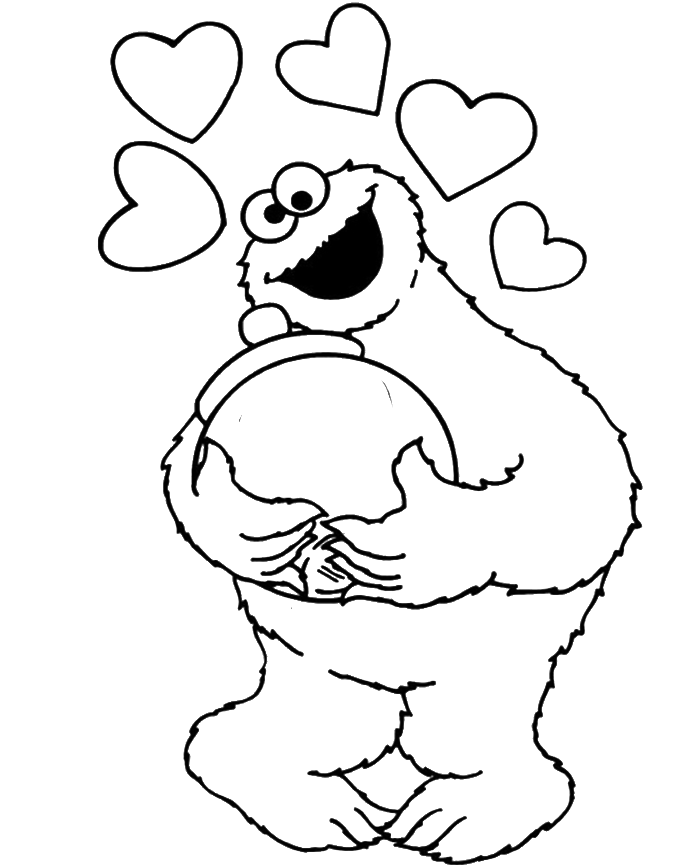 Love Cookie Monster Coloring Page - Cookie Monster Coloring Pages