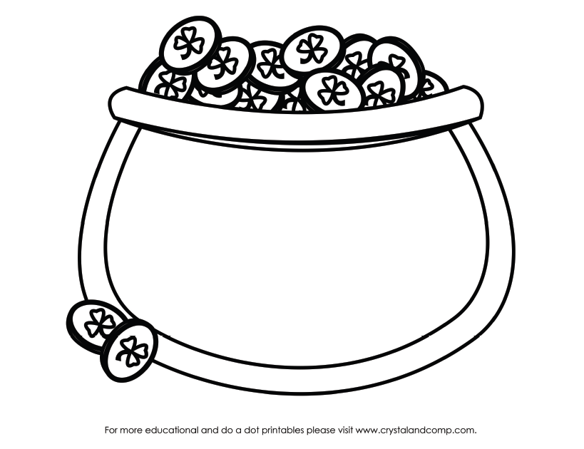 Pot of gold template coloring home for Rainbow pot of gold coloring pages
