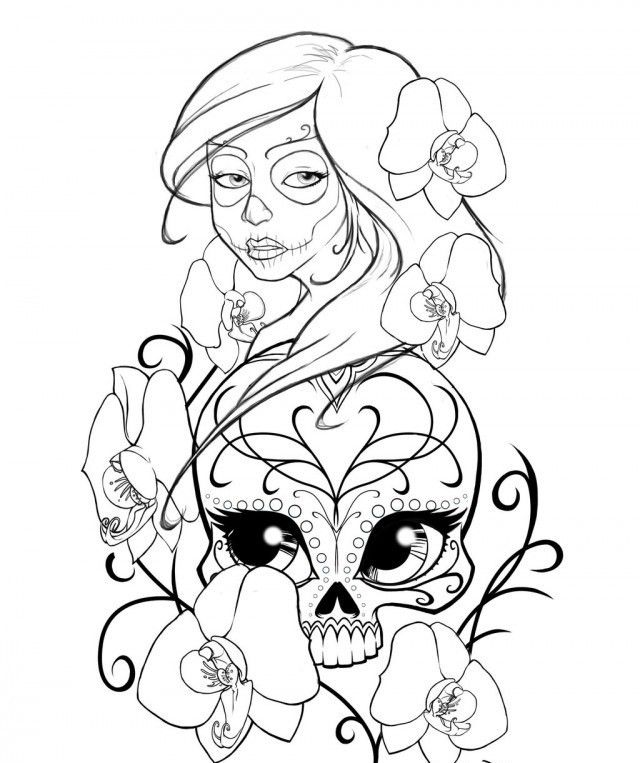 Sugar Skull Coloring Pages Download  Coloring Home