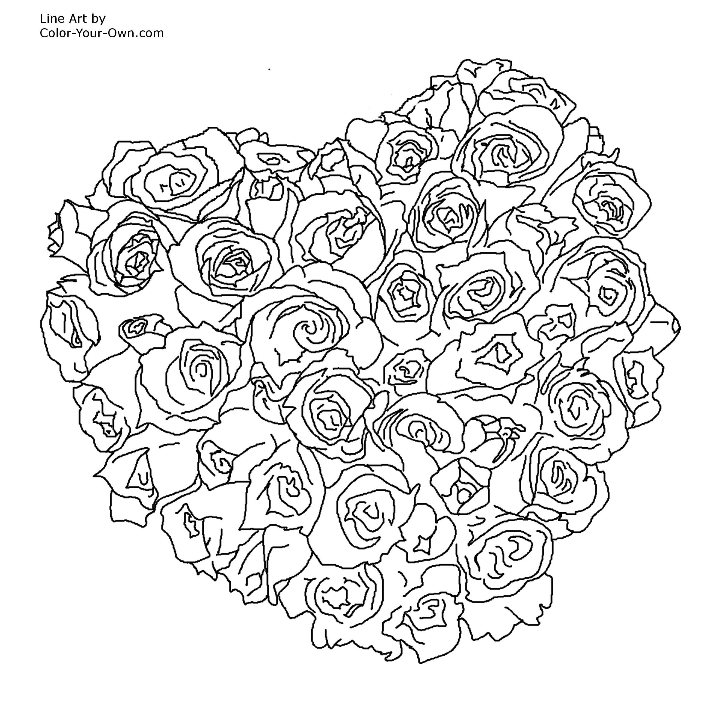 Free Adult Printable Coloring Pages Roses Heart - Coloring Home