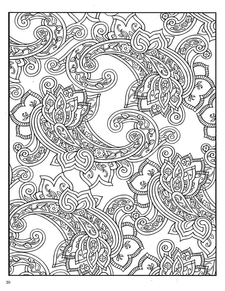 Coloring Pages Of Animals With Designs : Paisley design coloring pages az