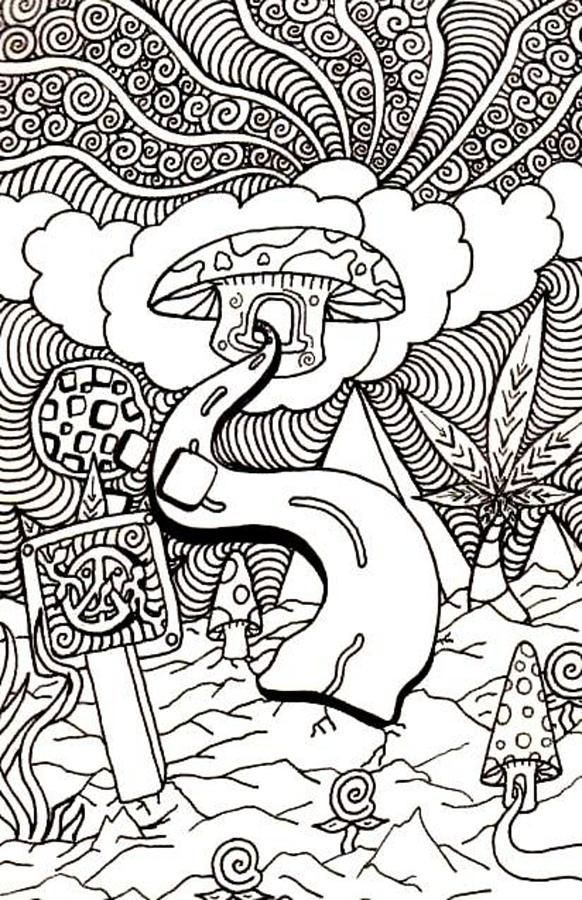 stoner trippy weed coloring pages - photo#14