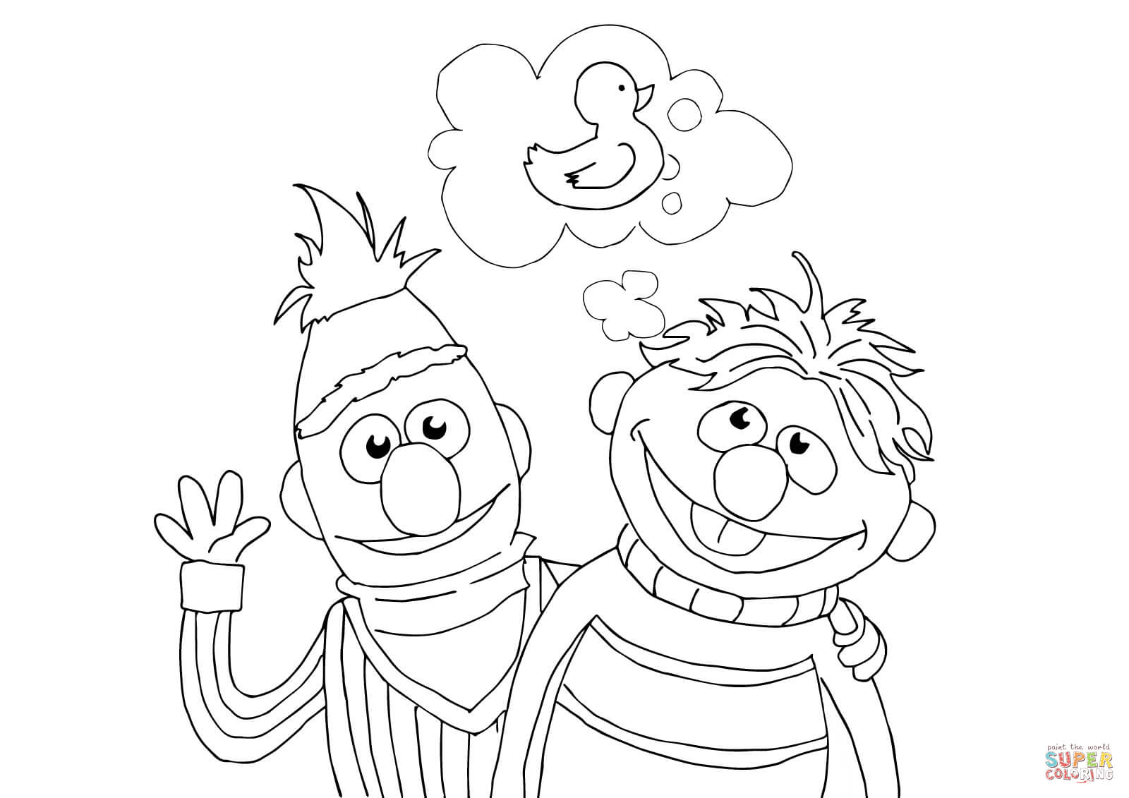 Bert, Ernie and Rubber Duckie coloring page | Free Printable ...