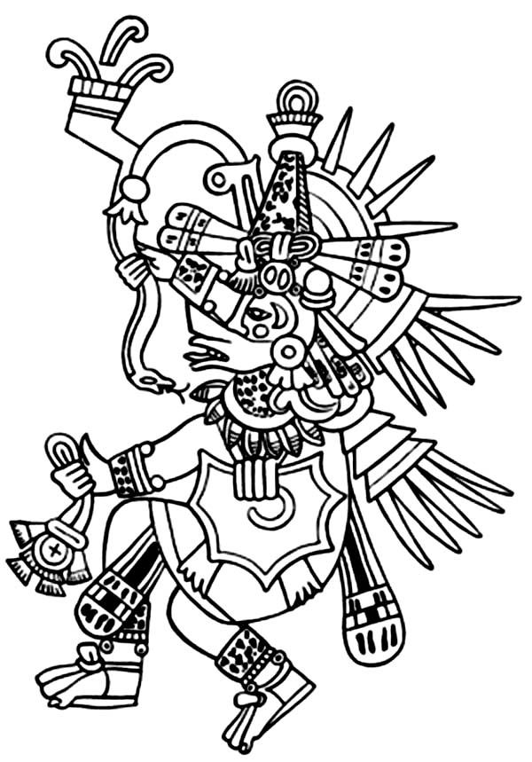 Aztecs coloring pages coloring home for Aztec gods coloring pages