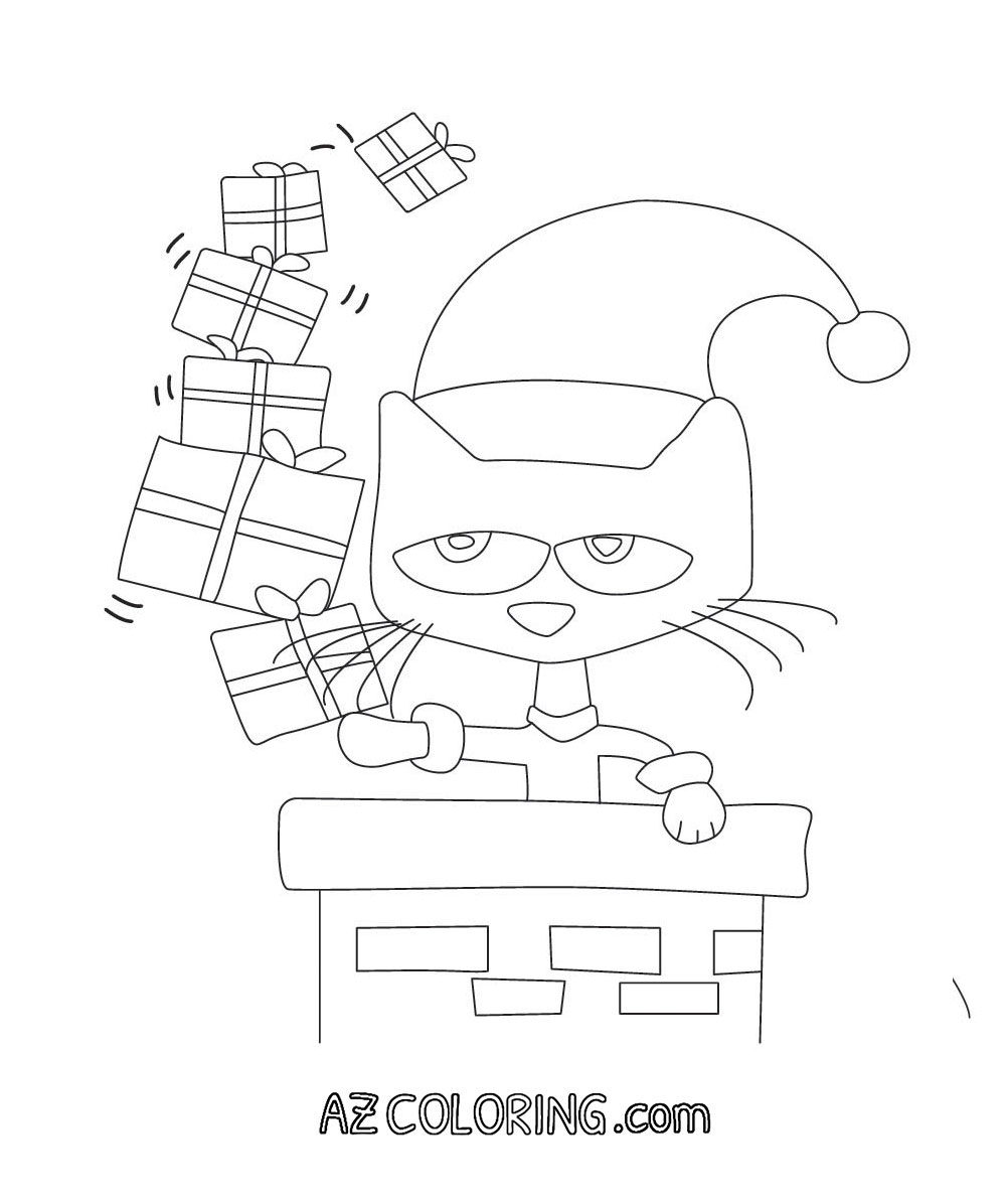 Pete The Cat Christmas Printable Coloring Page - Coloring Home