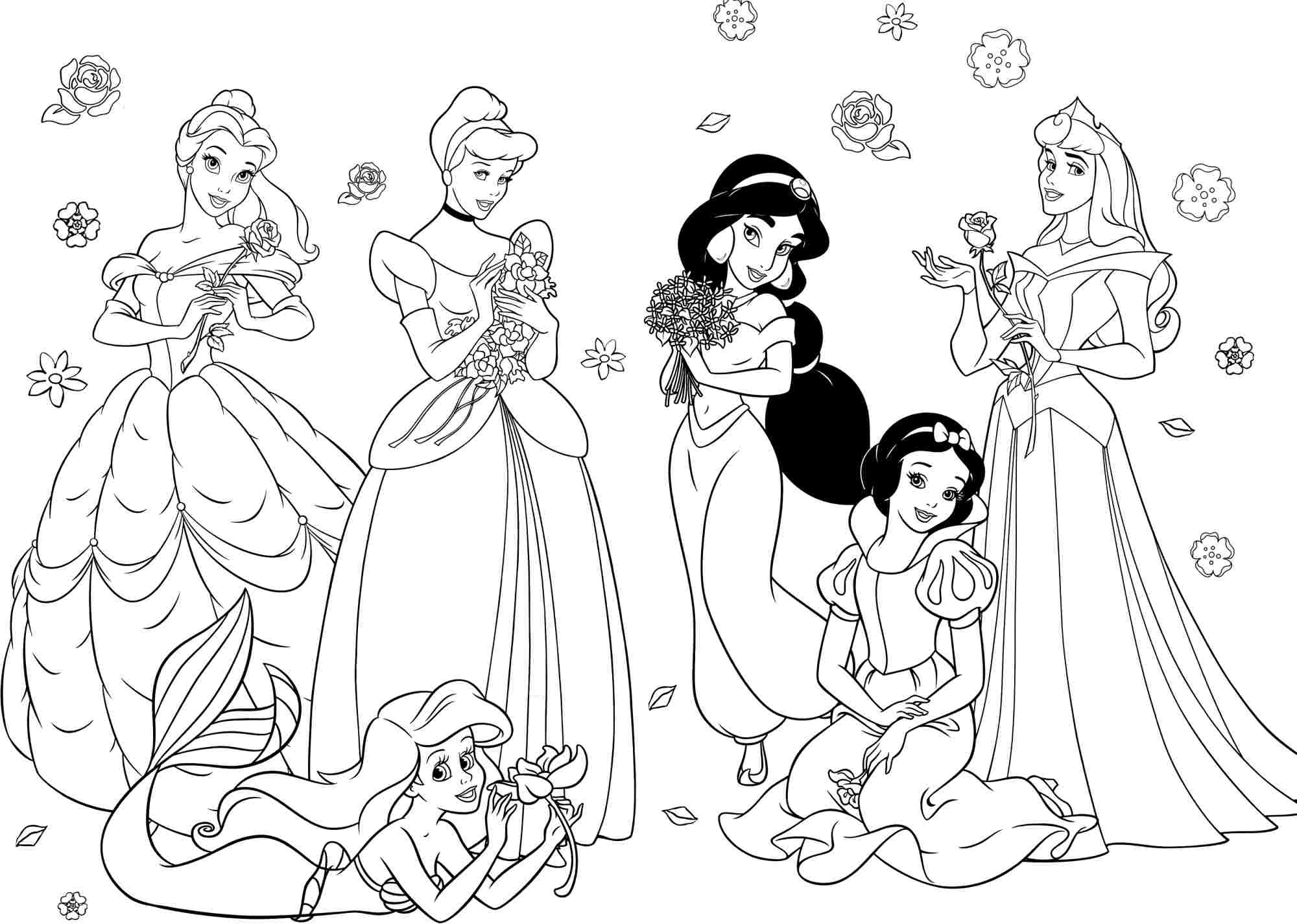 free printable disney princesses coloring page coloring home