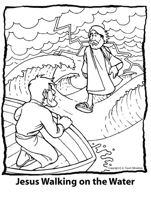 Jesus Walking On Water Coloring Page Coloring Home