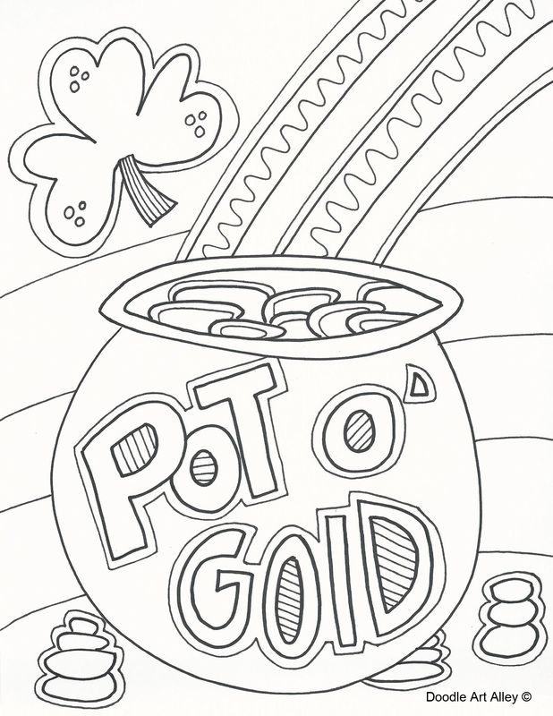 Rainbow With Pot Of Gold Coloring Pages - Coloring Home
