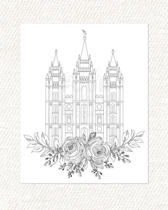 Printable Salt Lake City Utah Lds Temple Coloring Page Pdf Etsy Coloring Home