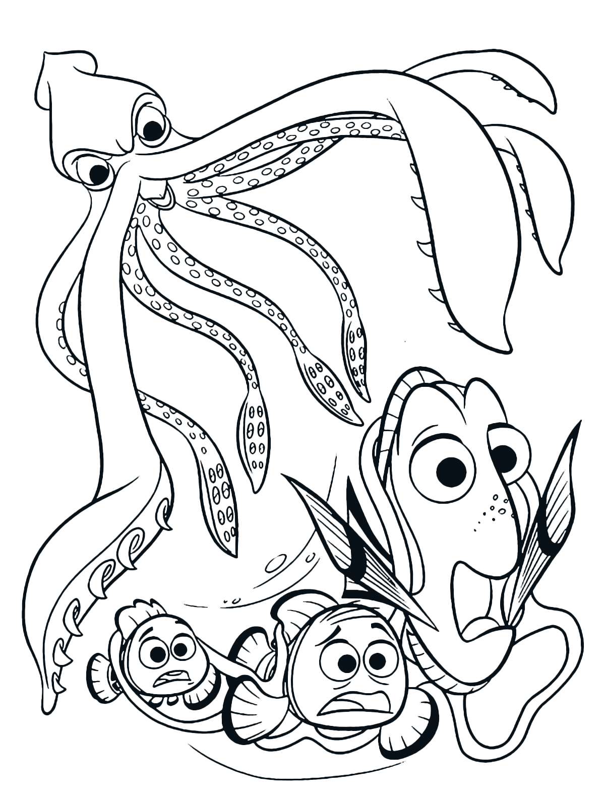 Finding Dory Coloring Page Dory Marlin And Nemo Are Attacked By A Giant Squid Animal Coloring Pages Nemo Coloring Pages Coloring Pictures Coloring Home
