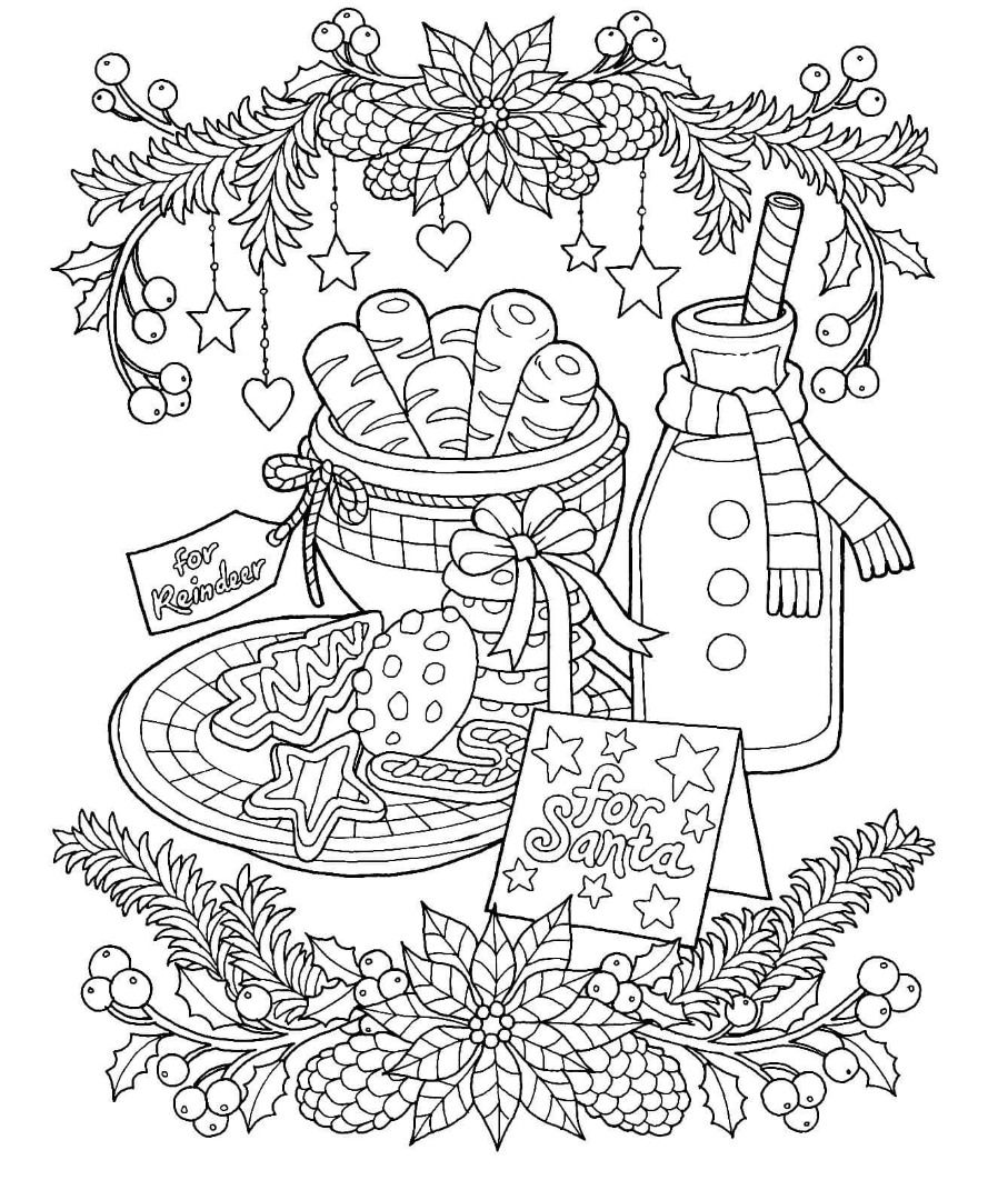 Christmas Milk and Cookies Coloring Page | Printable christmas ...