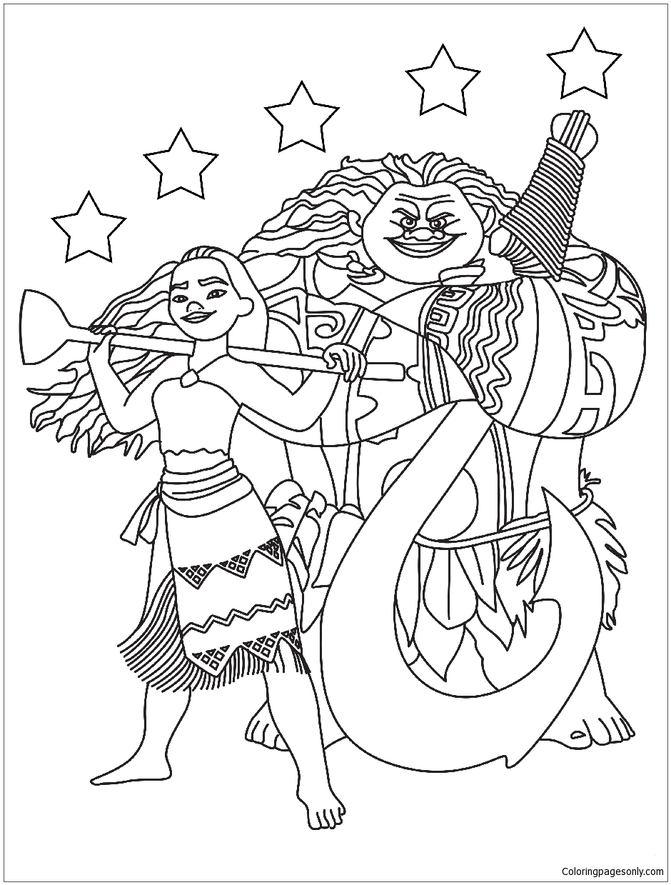 Moana Maui With The Stars Coloring Page - Free Coloring Pages Online