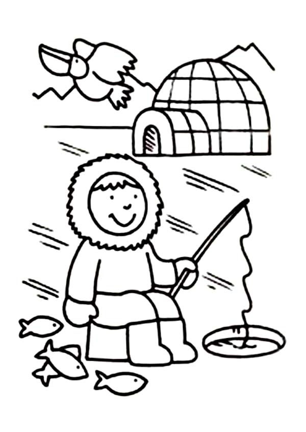 Inuits for kids coloring home for Eskimo coloring page