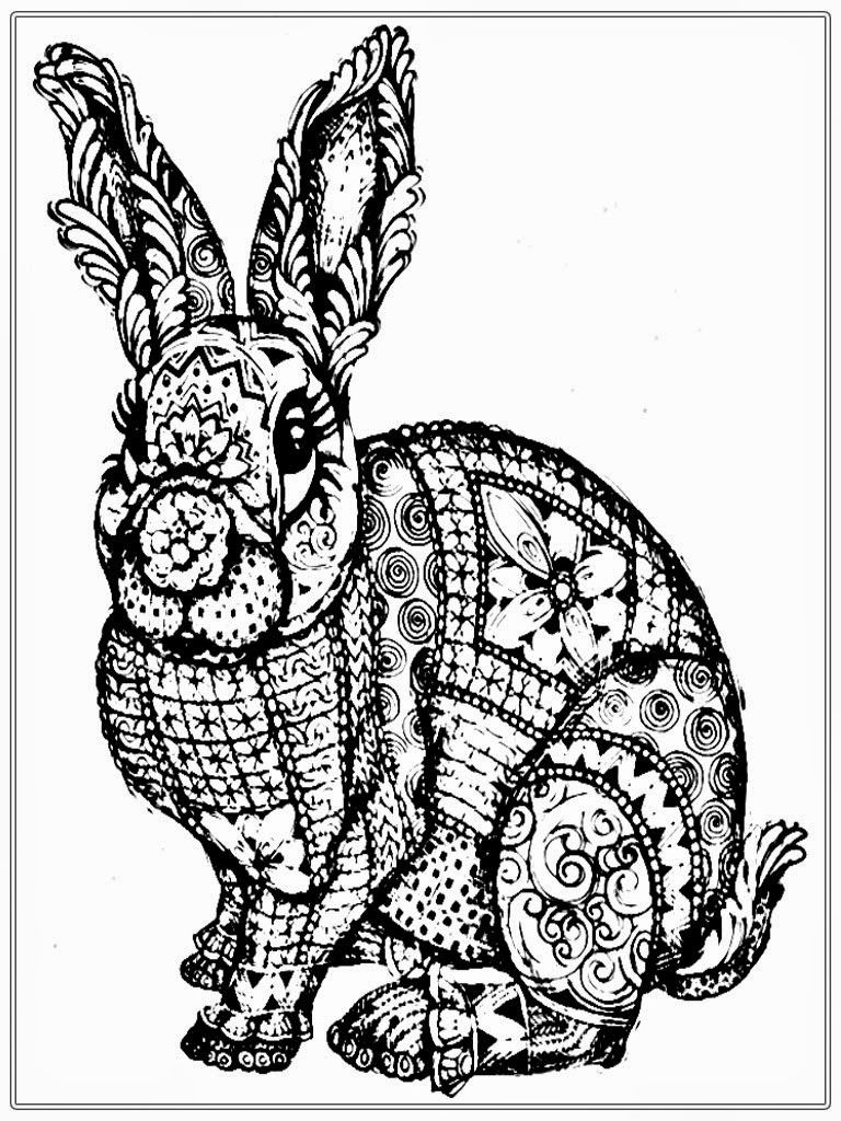 Free Rabbit Coloring Pages For Adult | Realistic Coloring Pages