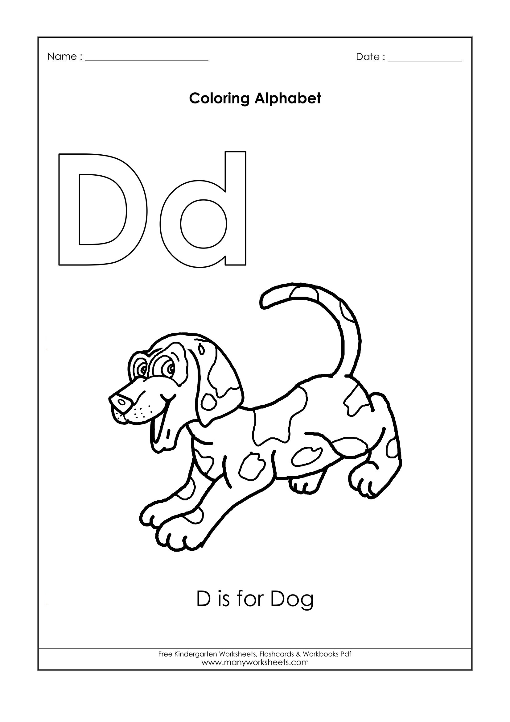 Letter D Coloring Pages – D for Dog