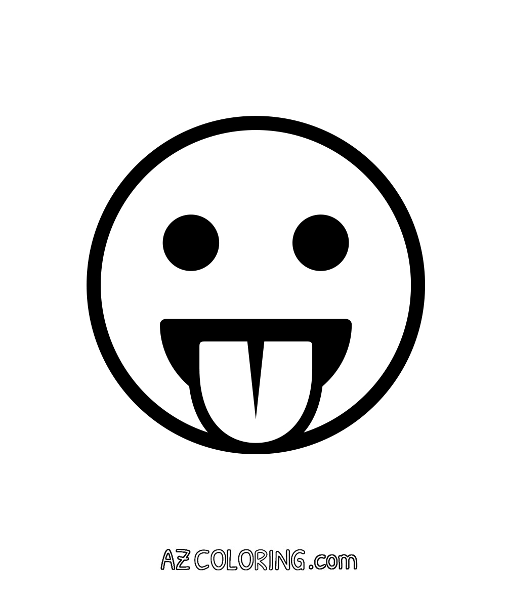 face with stuck-out tongue, cheeky emoji coloring page