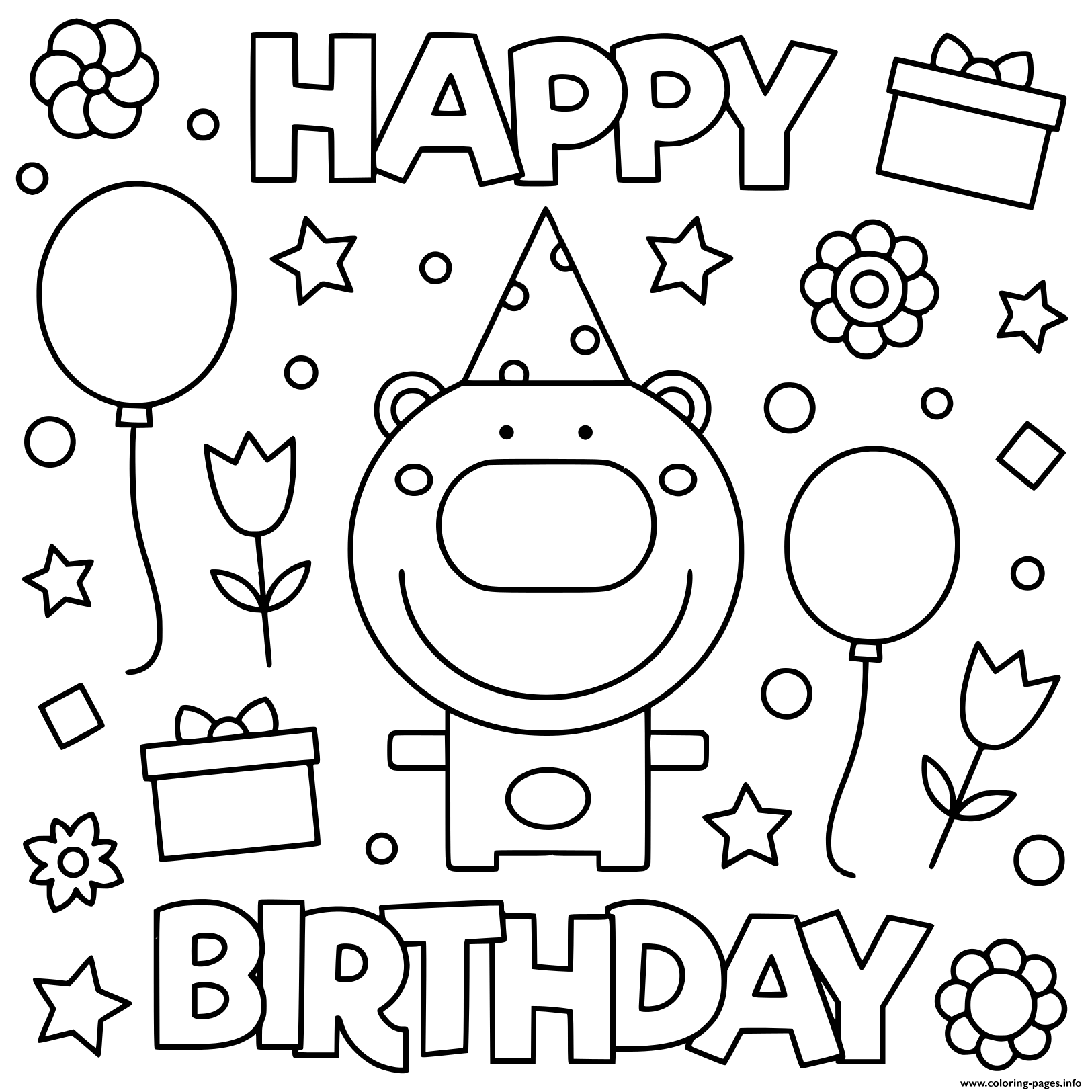 Happy Birthday Coloring Pictures To Print Books For Kids Online Free Sheets  Printable Pagesdults – Slavyanka