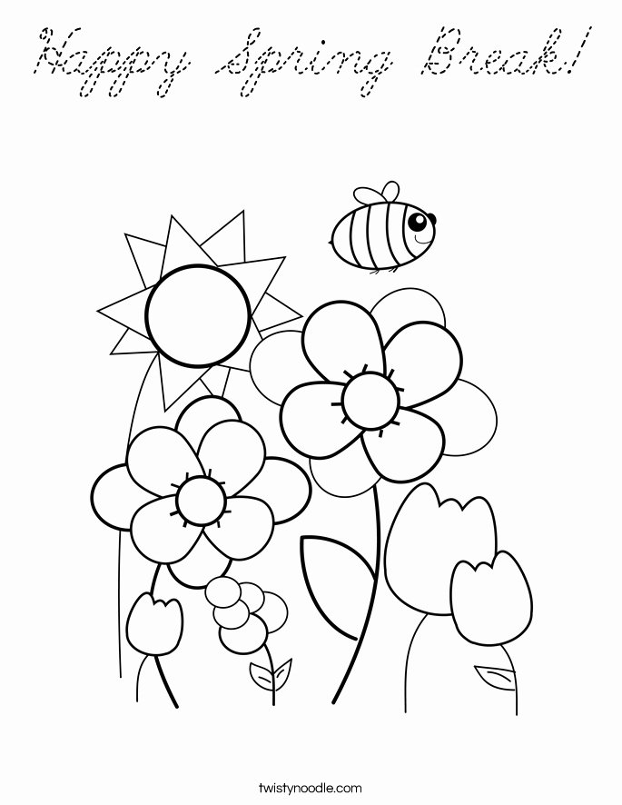 Spring Break Coloring Pages New Cursive Coloring Pages at Getdrawings |  Meriwer Coloring