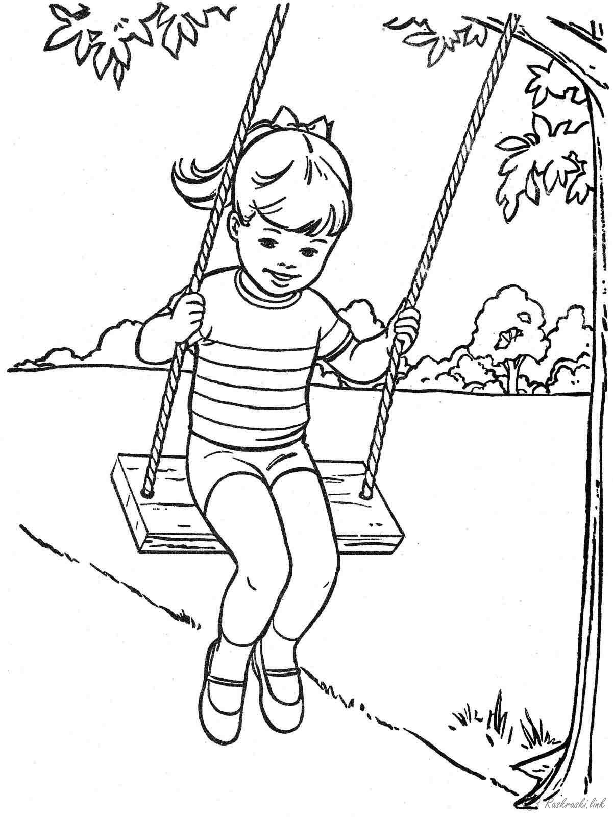 Tree swing coloring pages sketch coloring page for Swing set coloring page