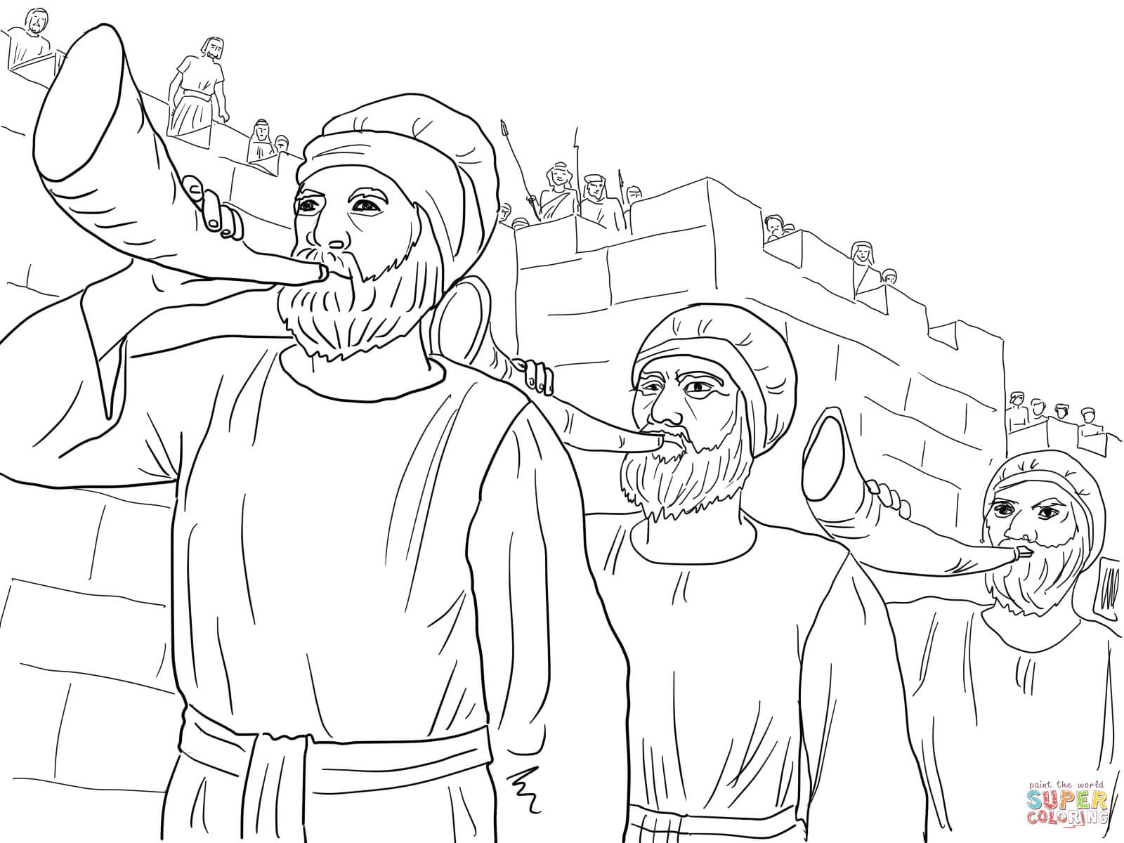 battle of jericho coloring pages for kids and for adults