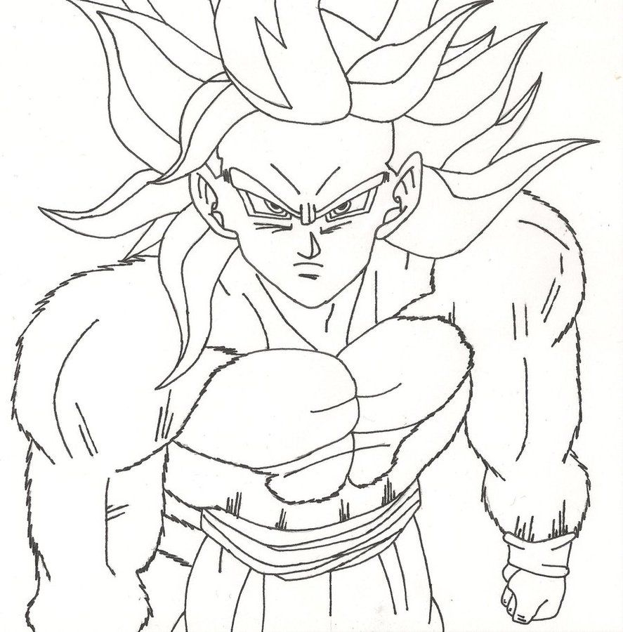 goku super saiyan 4 coloring pages for kids and for adults