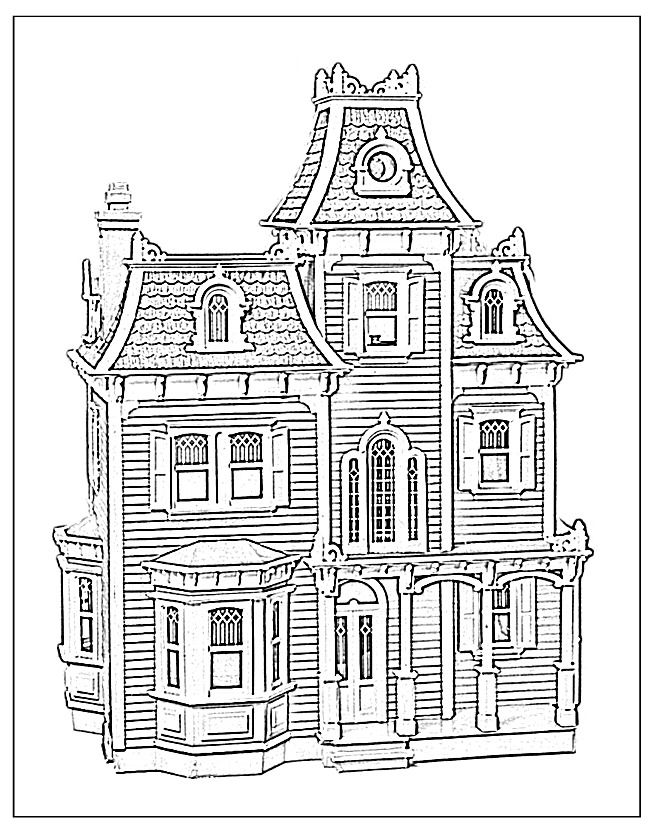 Victorian House Coloring Page - Coloring Home