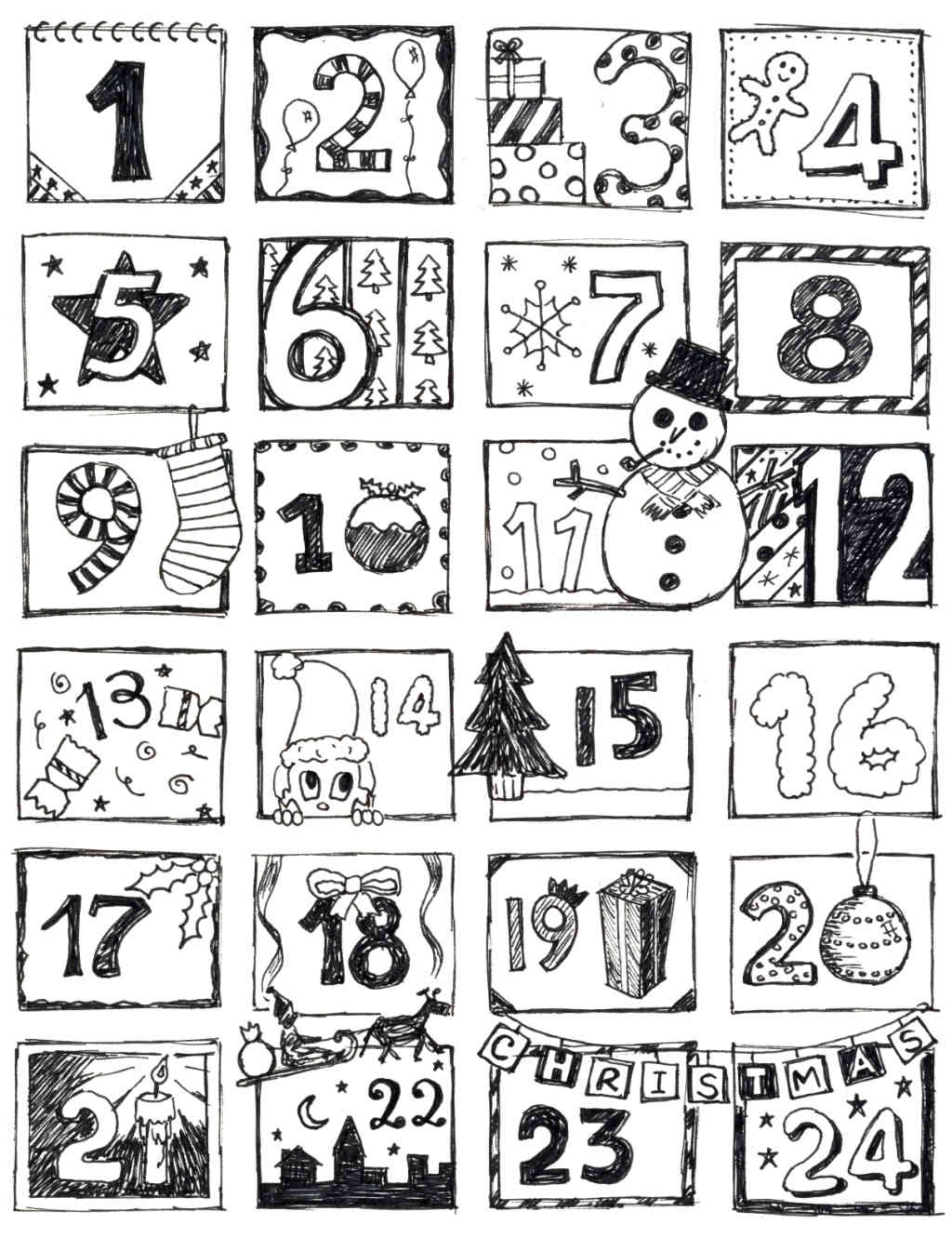 coloring pages advent calendar coloring home. Black Bedroom Furniture Sets. Home Design Ideas